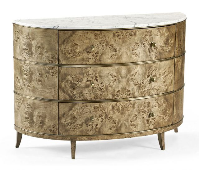 Jonathan Charles Golden Amber Demilune Chest of Drawers
