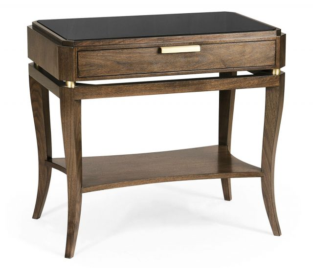 Jonathan Charles Mendip Walnut Bedside Table with Drawer