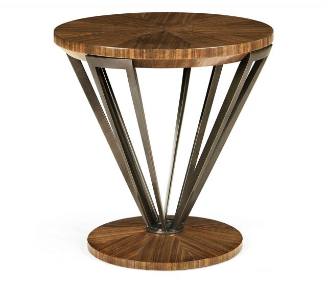 Jonathan Charles Garonne Brass & Walnut Lamp Table