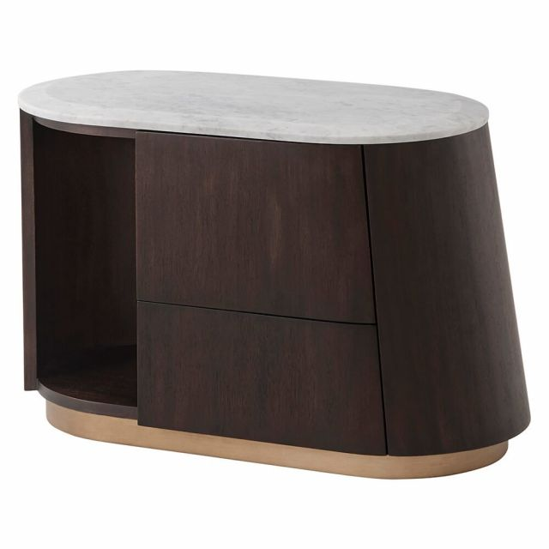 Theodore Alexander Oblique Bedside Cabinet - Right / Veneer / Carrara